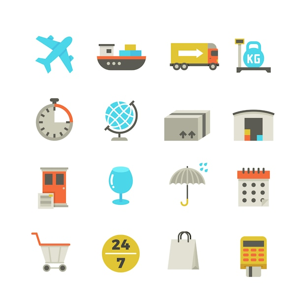 Import and export delivery logistics icons Premium Vector