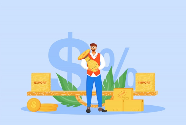 Import and export tariffs  concept  illustration. man holding stamp  cartoon character for web design. international trading tax, taxation policy, legal obligation creative idea Premium Vector