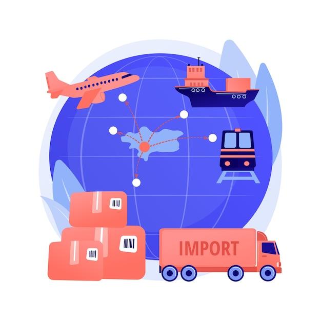 Импорт товаров и услуг абстрактное понятие векторные иллюстрации. процесс международных продаж, материальные ресурсы, внутренние инвестиции, отгрузка, торговый баланс, абстрактная метафора дохода. Бесплатные векторы