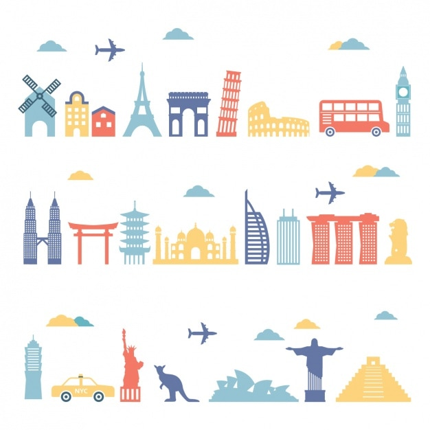 Important monuments of the world Free Vector