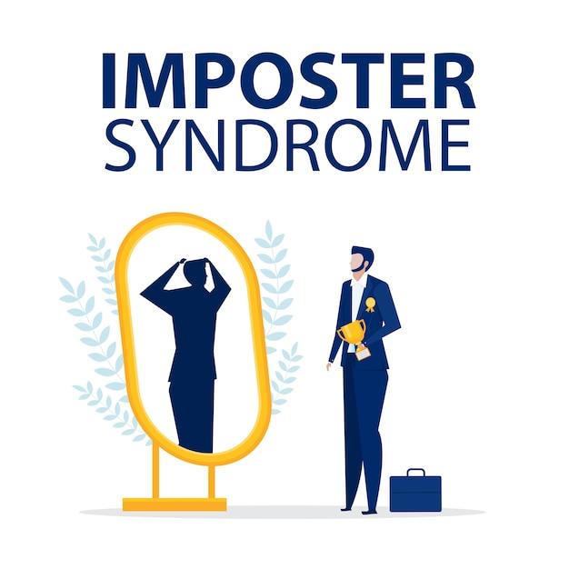 Синдром самозванца. бизнесмен, стоя с зеркалом и видя себя как тень позади. Premium векторы