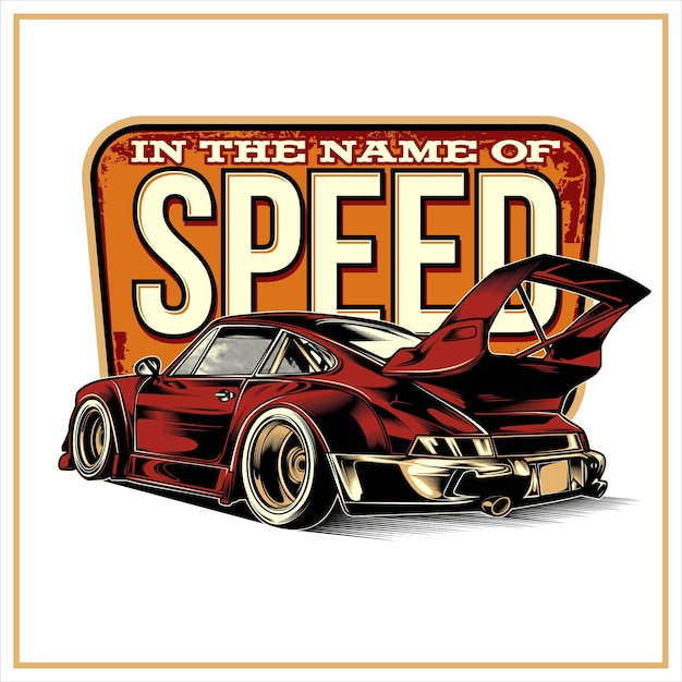 The name of speed、ヴィンテージのイラスト Premiumベクター
