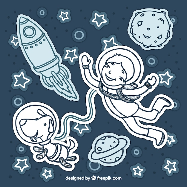 In the outer space with a dog Free Vector