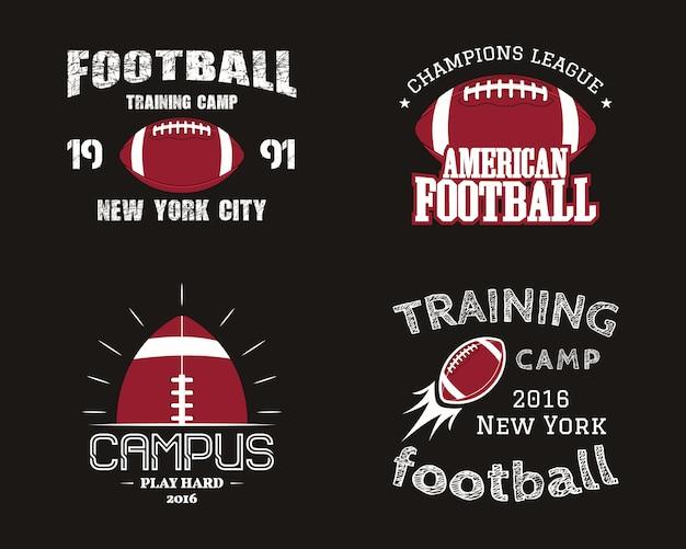 アメリカンフットボールのバッジ、ロゴ、ラベル、レトロな色スタイルのin章のセット。暗い背景に分離されたカラフルなスタイル。 Premiumベクター