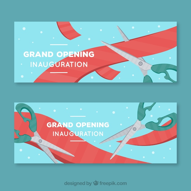 Inauguration banners with scissors cutting ribbon
