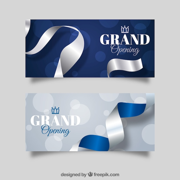 Inauguration banners with silver style Free Vector