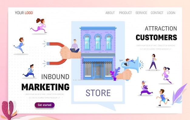 Inbound marketing and customer acquisition landing page Premium Vector