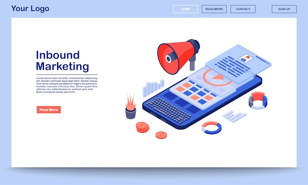 Inbound marketing landing page template. media advertising website interface with flat illustrations. smm, mobile marketing content homepage layout. Premium Vector