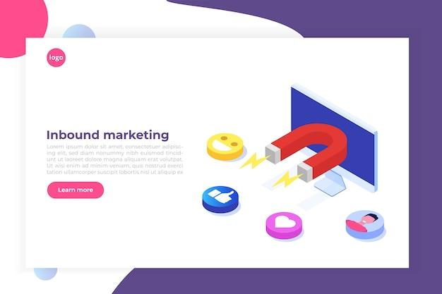 Inbound, online or permission marketing Premium Vector