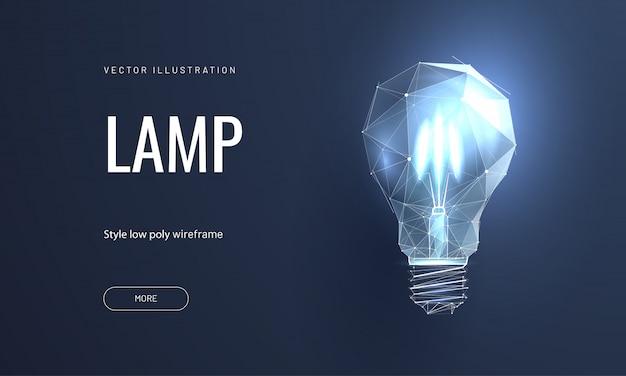 Лампа накаливания в полигональном стиле Premium векторы