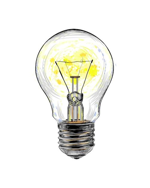 Лампа накаливания светится от всплеска акварели, рисованный эскиз. иллюстрация красок Premium векторы