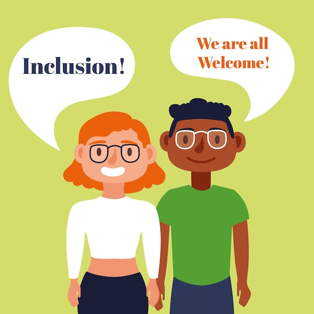 Inclusion concept text with blind couple speaking characters Premium Vector