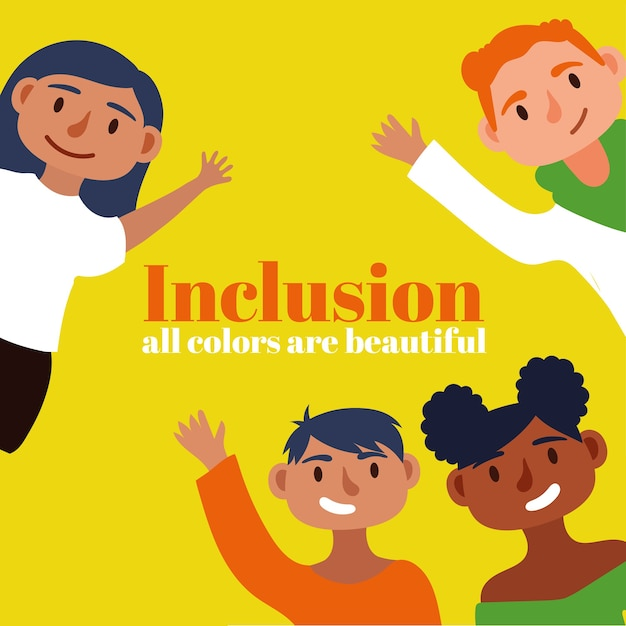Inclusion concept text with community people characters Premium Vector