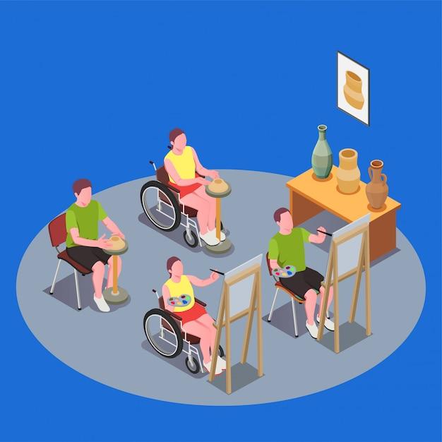 Инклюзивная образовательная композиция с людьми в инвалидных колясках, которые проводят урок искусства 3d Бесплатные векторы