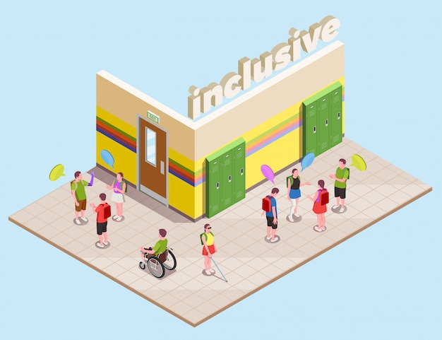 Inclusive education isometric composition with disabled people in school hall 3d Free Vector