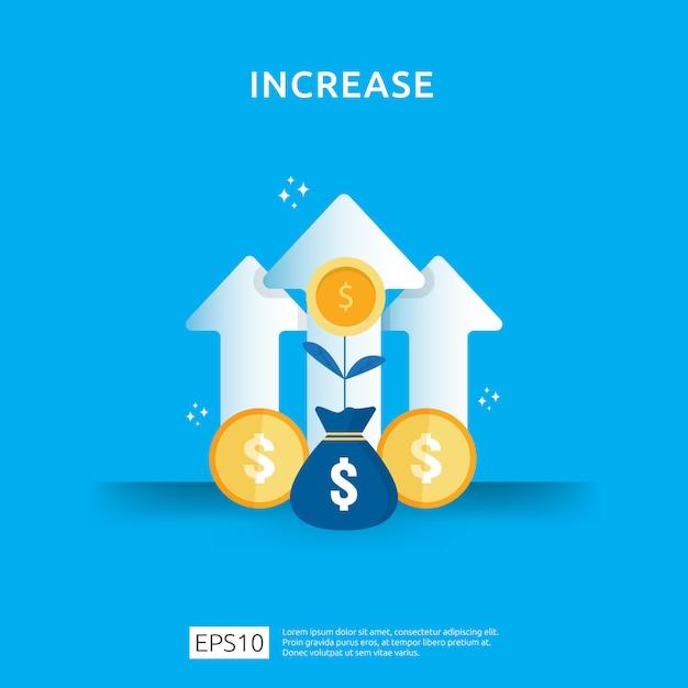 所得給与率の上昇。ビジネスグラフグラフィック成長マージン収益。矢印の要素を持つ投資roi概念のリターンの財務パフォーマンス。フラットスタイルのデザイン Premiumベクター