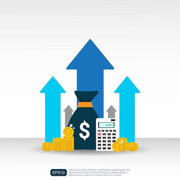 収入の給与率は矢印記号の付いた概念を増やします。 Premiumベクター