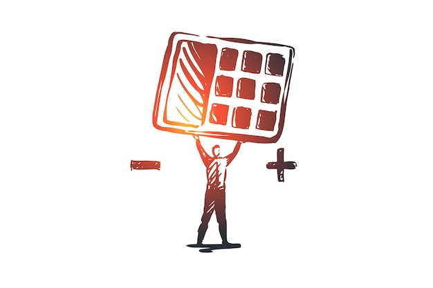 Income statements, accounting, financial, balance concept. hand drawn businessman with calculator in his hand's concept sketch. Premium Vector