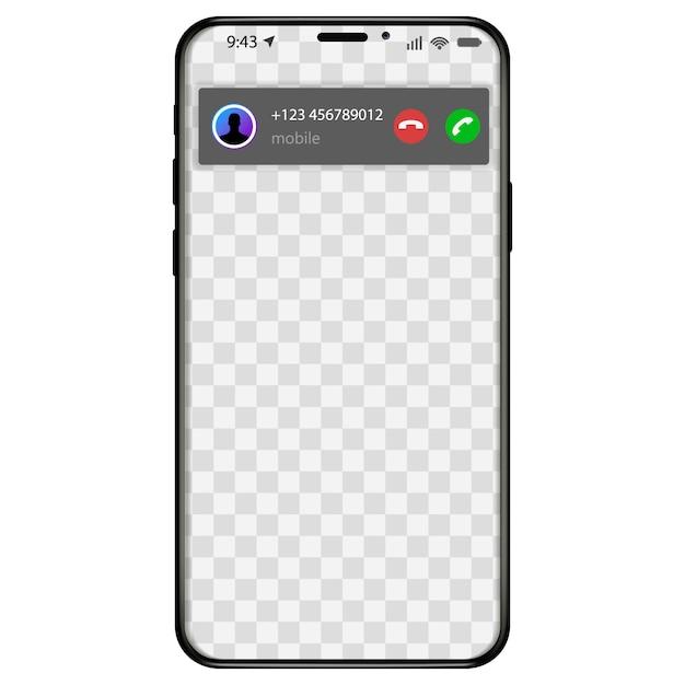 Отображение экрана входящего вызова с iphone. как отвечать на телефонные звонки в пользовательском интерфейсе мобильного приложения. иллюстрация Premium векторы