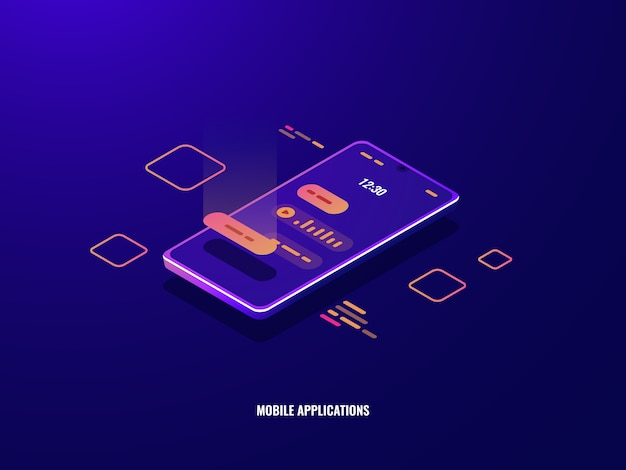 Incoming message isometric icon, mobile phone with chat dialog on screen, voice message Free Vector