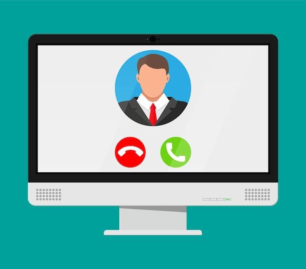 コンピューターでのビデオ通話の着信。男の写真、拒否してノートブック画面のボタンを受け入れます。オンライン会議、ビデオ通話、ウェビナー、トレーニング。 Premiumベクター