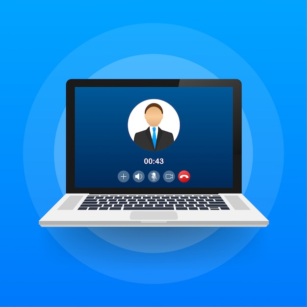 Входящий видеозвонок на ноутбуке. ноутбук с входящего звонка, изображение профиля человека и принять кнопки отклонения. иллюстрации. Premium векторы