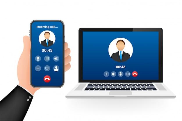 ラップトップでのビデオ通話の着信。着信、男のプロフィール写真、拒否ボタンを受け入れるラップトップ。図。 Premiumベクター