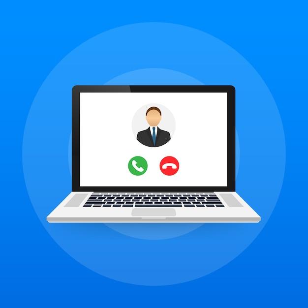 ラップトップでのビデオハングアウト着信。着信コール、男性プロフィール写真、拒否ボタンを受け入れるラップトップ Premiumベクター