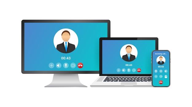 ラップトップでの着信ビデオ通話。着信、男性のプロフィール写真、拒否ボタンを受け入れるノートパソコン Premiumベクター