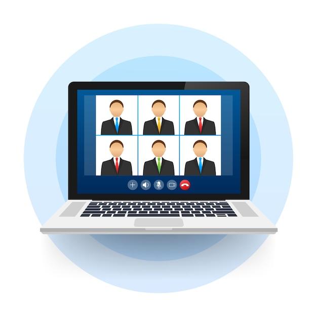 Входящий видеозвонок на ноутбуке Premium векторы