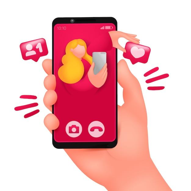 スマートフォンの画面でのビデオ通話の着信。オンラインデートチャット。 Premiumベクター