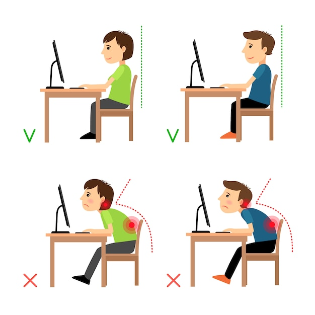 Incorrect and correct back sitting position Premium Vector