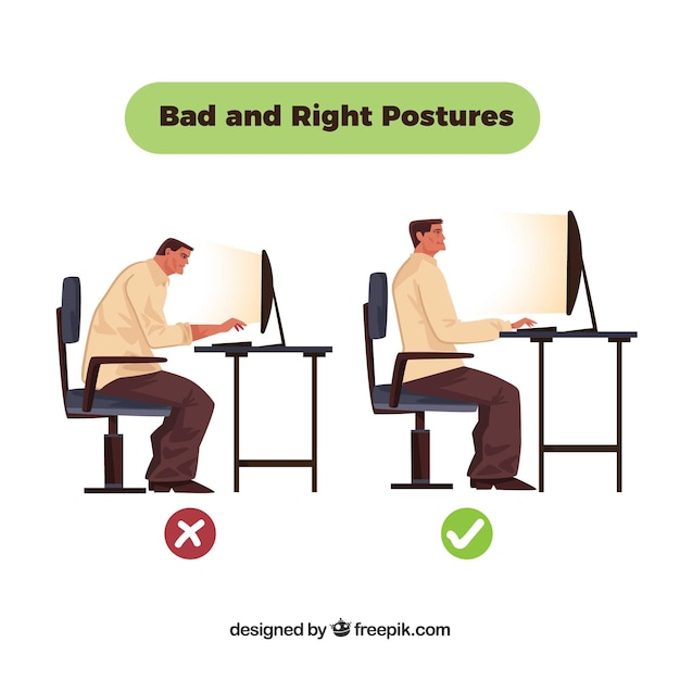 Incorrect posture in front of the computer Free Vector