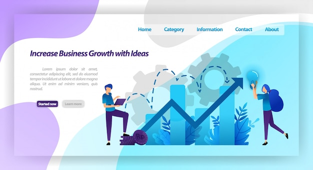 Increase business growth with idea. financial chart to increase company value and experience in business. landing page web template Premium Vector