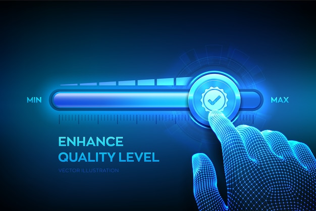 Increasing quality level. wireframe hand is pulling up to the maximum position progress bar with the quality icon. Premium Vector