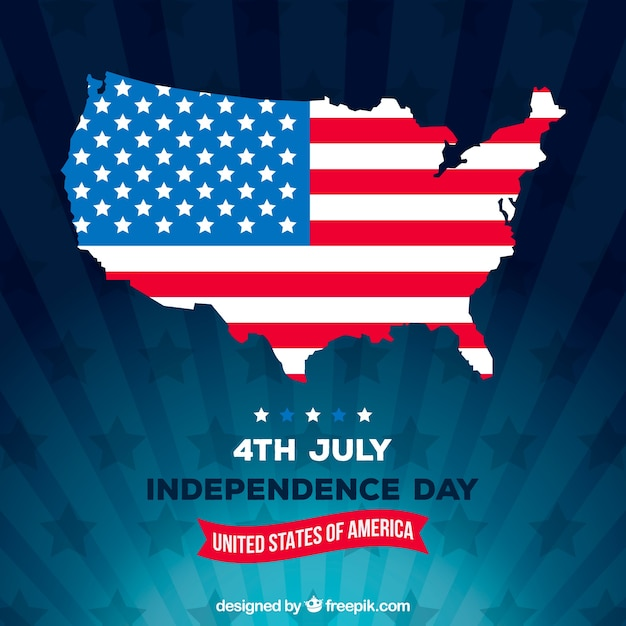 Independence day of 4th of july background in flat style Free Vector
