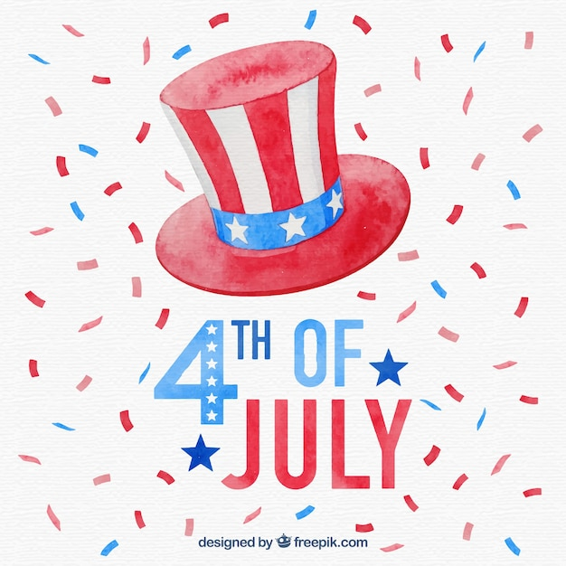 Independence Day Of 4th Of July Background In Watercolor Style