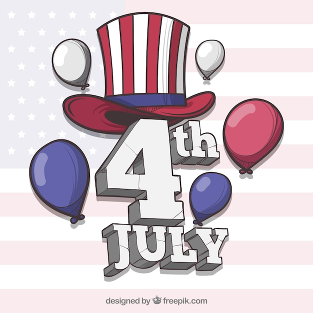 Independence day of 4th of july background Free Vector