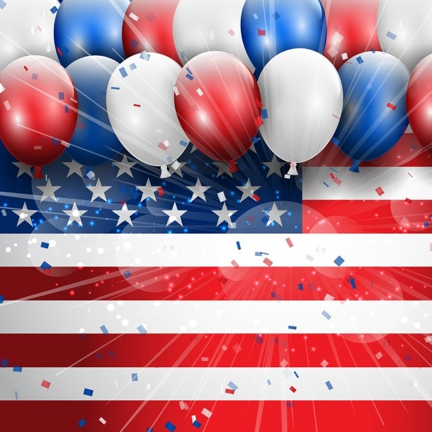 Independence day 4th july celebration\ background with balloons and confetti