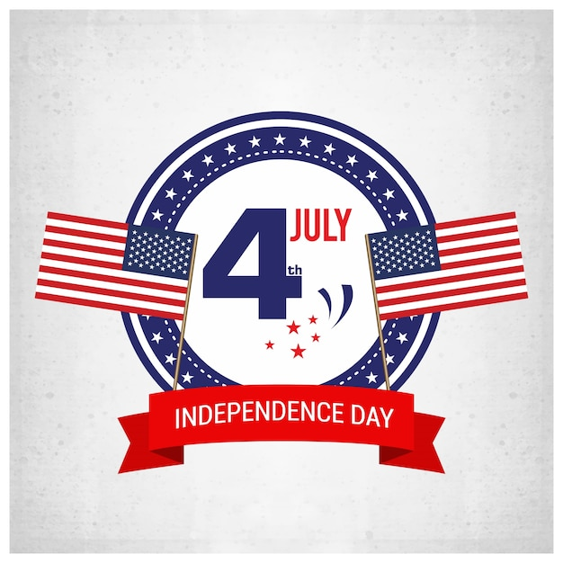 Independence day background and badge logo with us flag Free Vector