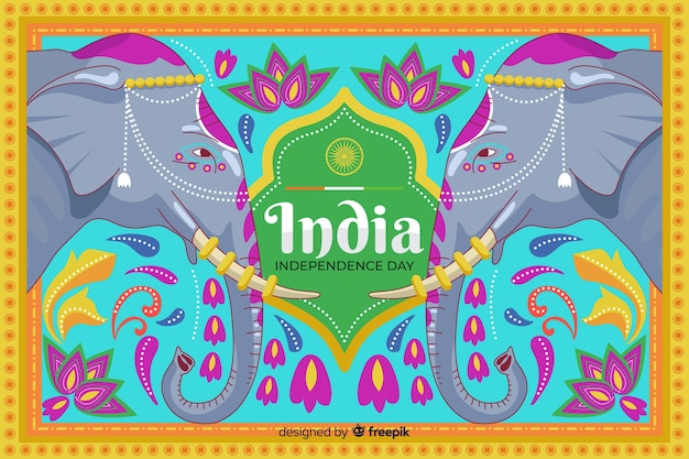 Independence day background in indian art style Free Vector