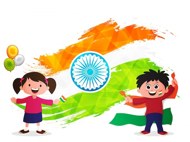 Creative Watercolor Indian Flag Background For Indian: Independence Day Background With Cute Kids And Creative