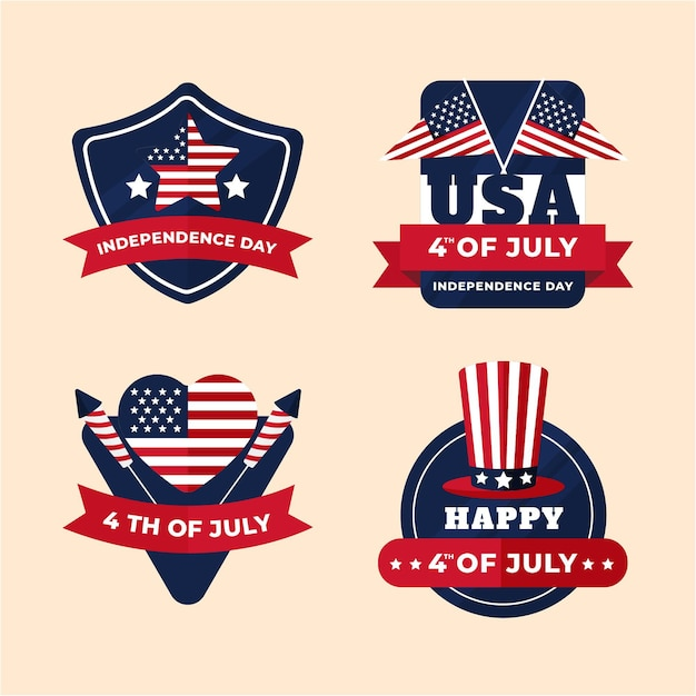 Independence day badges collection Free Vector
