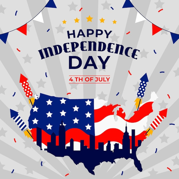 Independence day banner with fireworks Free Vector