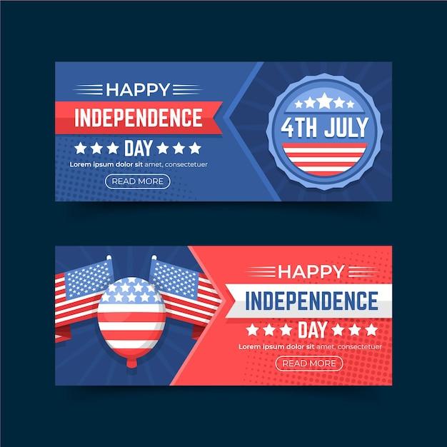 Design di banner festa dell'indipendenza Vettore gratuito
