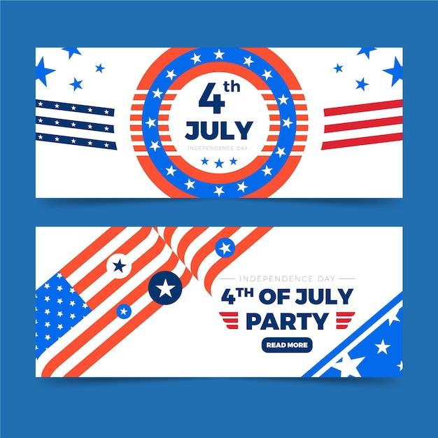 Modello delle bandiere di festa dell'indipendenza Vettore gratuito