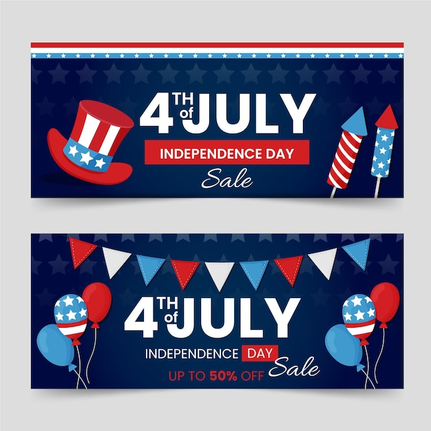 Independence day banners theme Free Vector