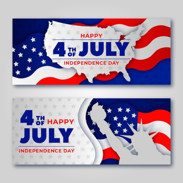 Independence day banners with flags Free Vector