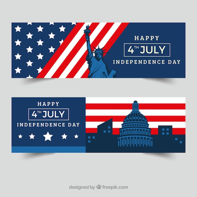Independence day banners with monuments in flat design Free Vector