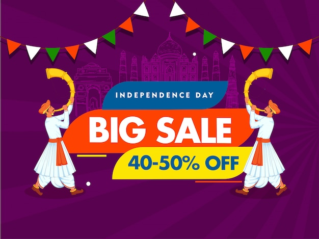 Independence day big sale poster  line art india famous monuments and two men blowing tutari horn on purple rays background. Premium Vector